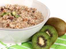 Rice Porridge With Nuts and Kiwi